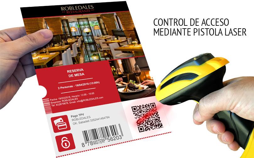 Control reserva restaurante pistola láser